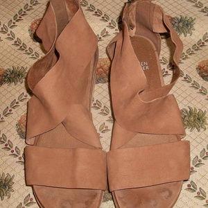 Eileen Fisher Taupe Nubuck Sport Sneaker Sandals